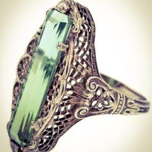 Antique 925 Sterling Silver Vintage Emerald Ring
